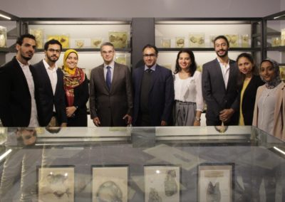 Museum Design Team Picture (Moustafa Magdy, AbdelHamid Mohamed, Heidi ElMessiry, Prof. Ahmed ElMinawi, Karim Shaboury,Mirhan Damir,AbdelRahman Mohamed, Sara Hany, Arwa Bahgat)